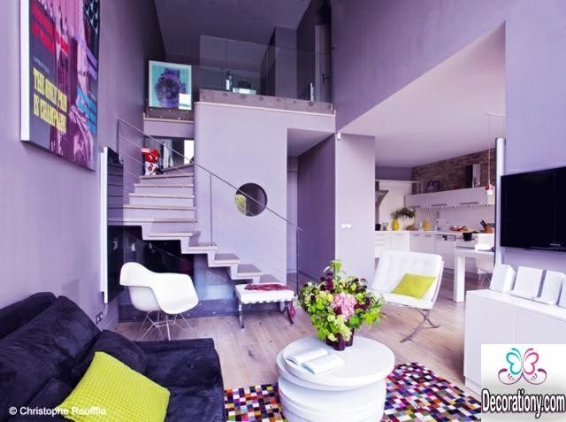 the living room design in purple