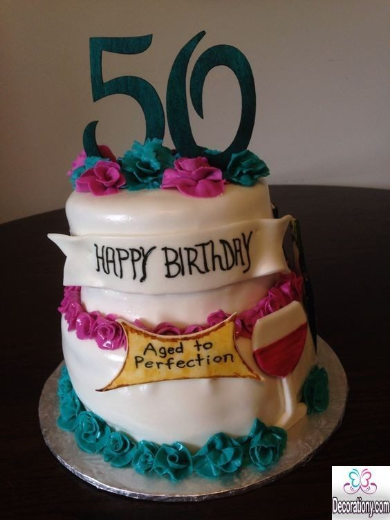50th birthday cakes design