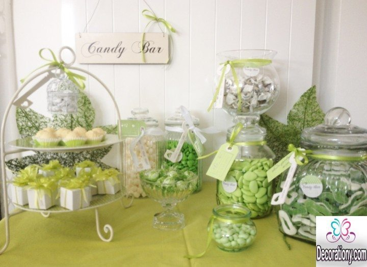 Green candy buffet decorating