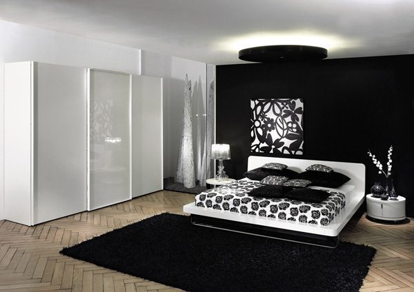 balck & white bedroom design
