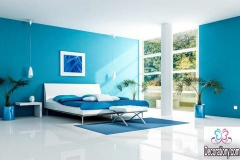 blue bedroom painting