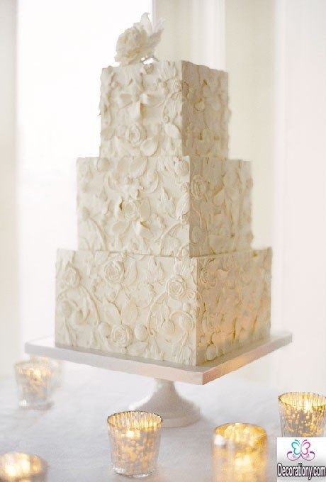 three-tier lace square wedding cakes 2016