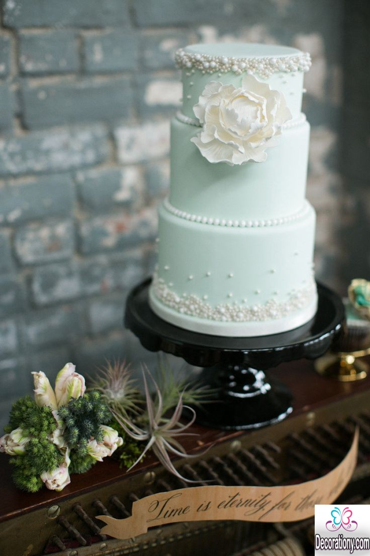 mint green cakes for wedding