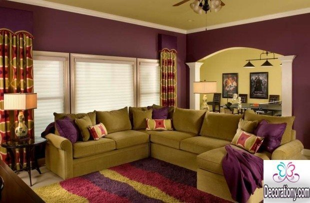 purple living room wall colors