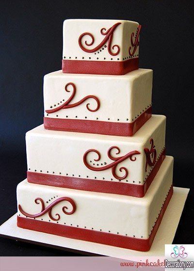 four-tier square cakes for wedding