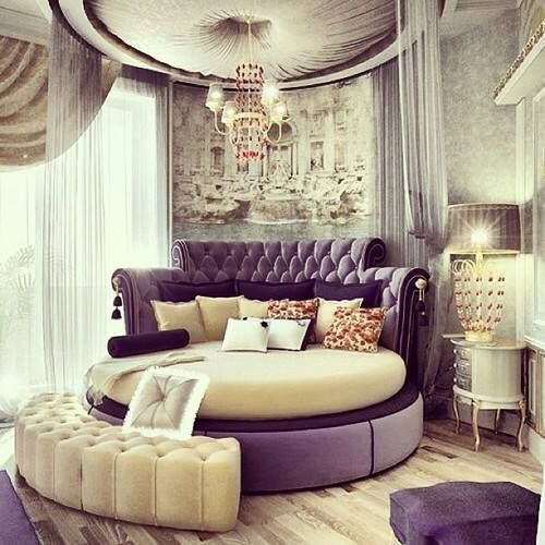 Purple round bed design