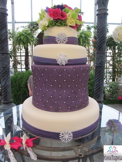 purple marriage ideas for cakes