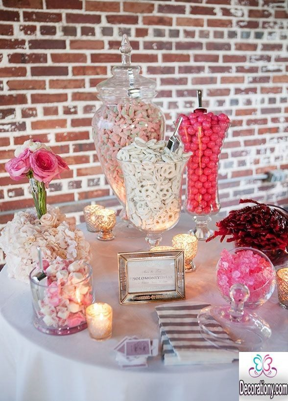 25 Fluffy Candy Bar Idea For Wedding Buffet Decoration Y