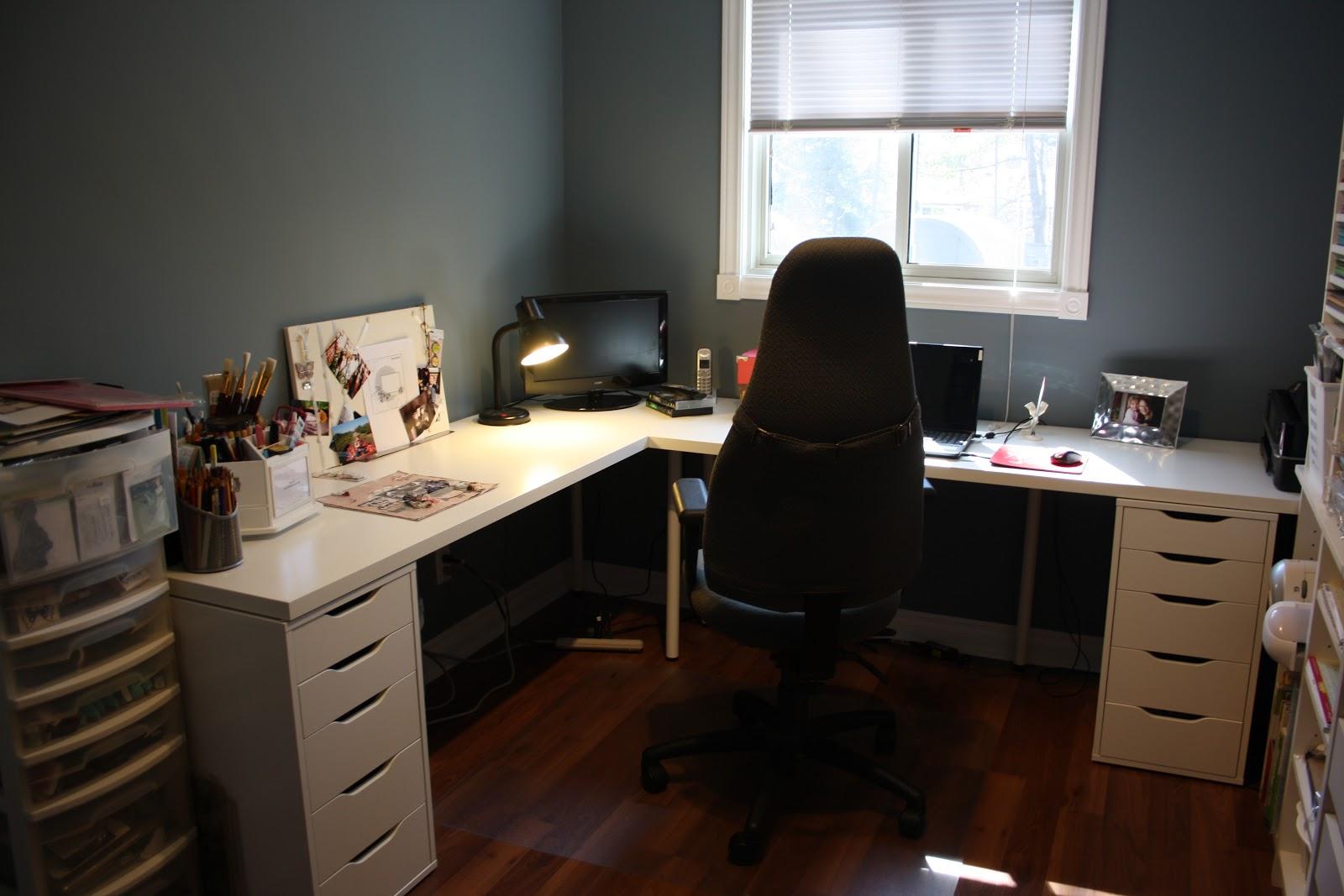 white L-shaped desk
