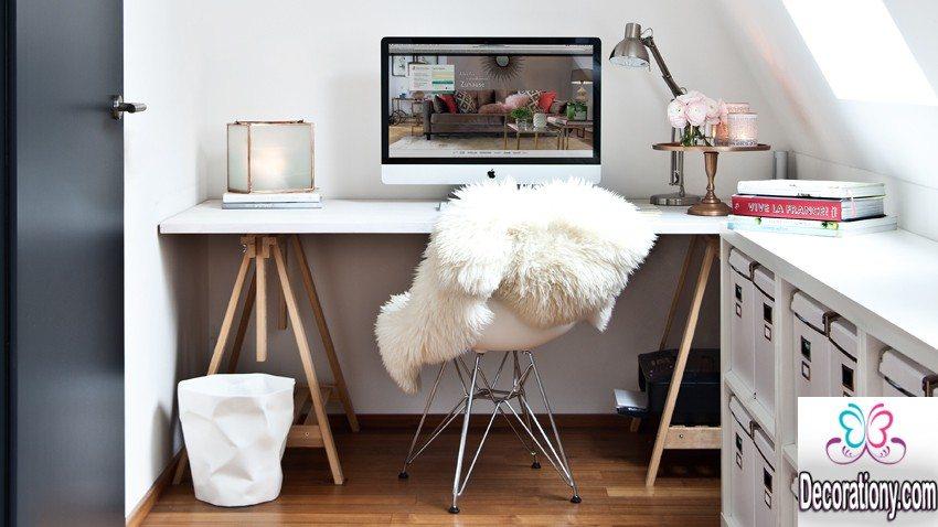 white home office design