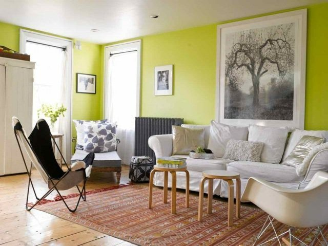 yellow living room interior design