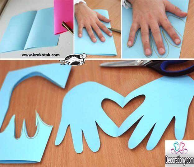 Diy Mothers Day Card Idea By Drawing Hands And Make Heart Shaped