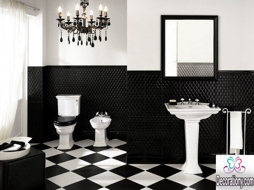 black and white bathroom chandeliers