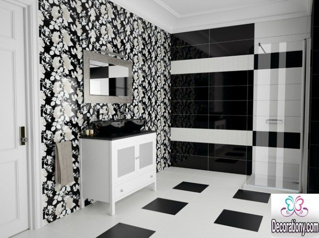 black & white bathroom walls