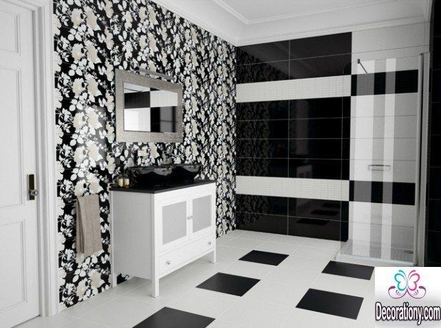 black & white bathroom walls