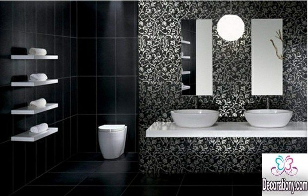 black & white bathroom interior decorating