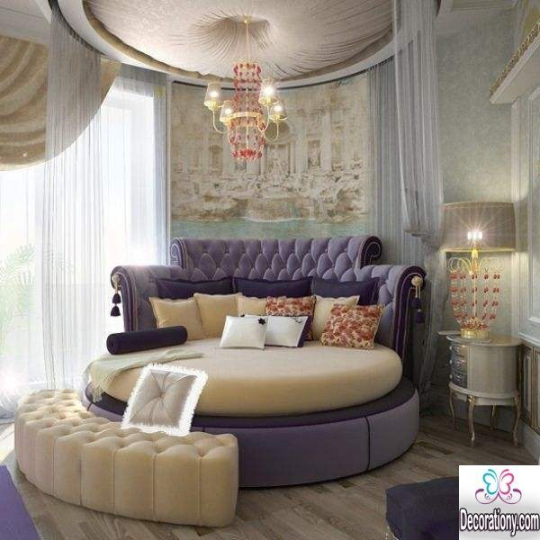 fluffy bedroom design ideas with round bed for more classy