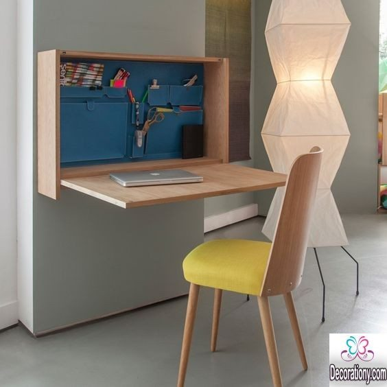 17 smart diy desk ideas for home office decoration y - Fabriquer table murale rabattable ...