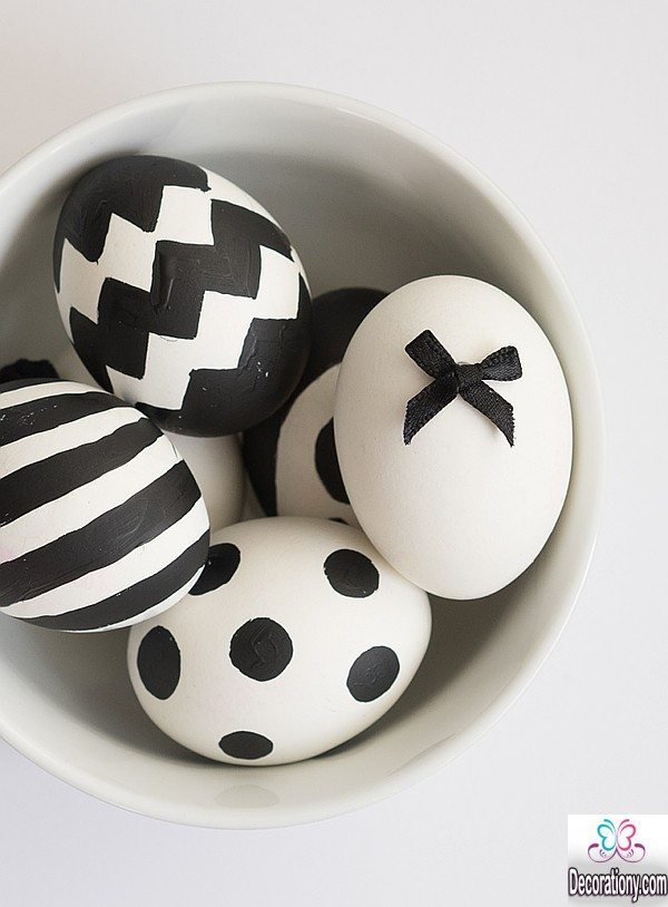 white and black decorate egg ideas