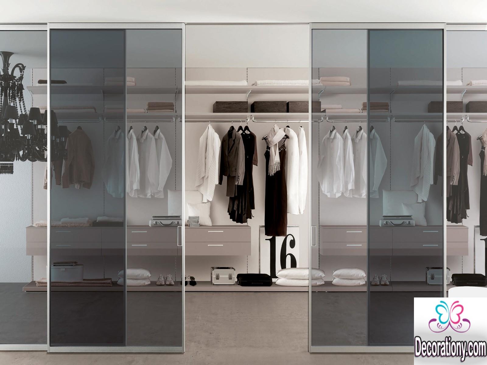 closet room with glass door
