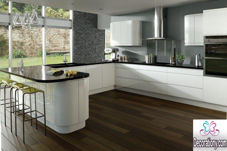 Modern White Kitchens With Dark Floors