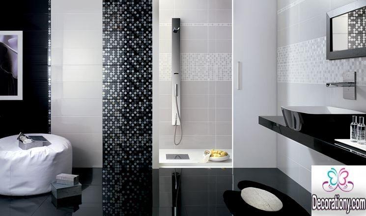 silver bathroom tile
