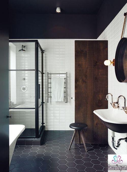 bathroom with black floor