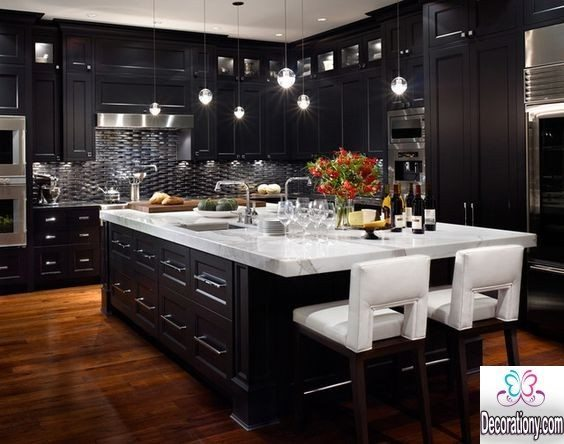 black kitchen island