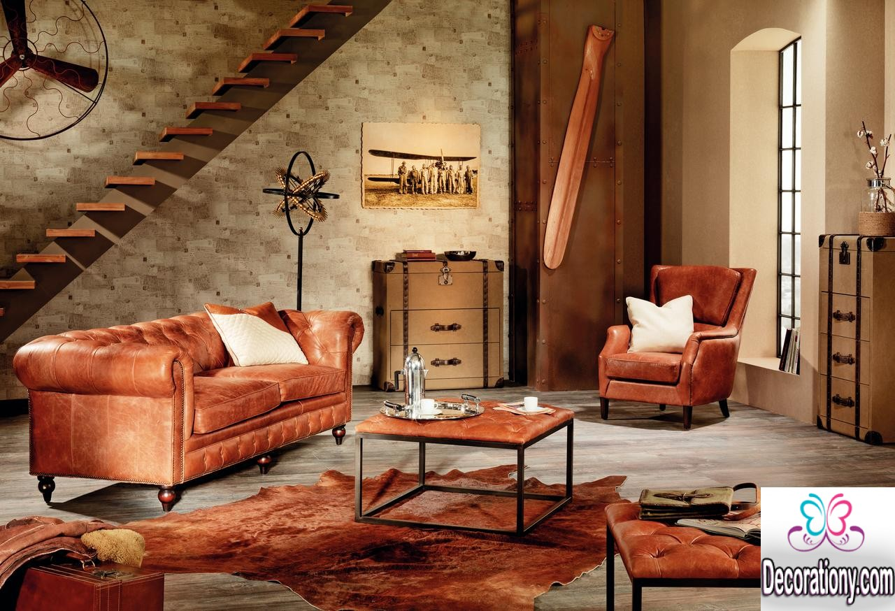 25 stunning rustic living room ideas living room for Family room leather furniture