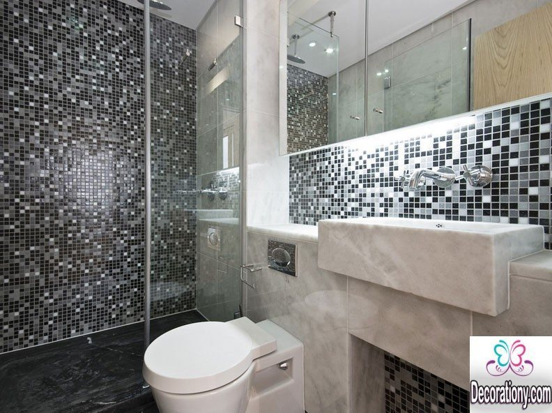 For Small Bathrooms Furthermore Modern Bathroom Shower Tiles Design