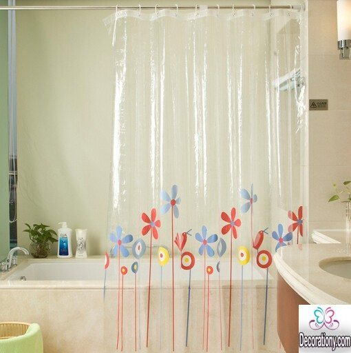Transparent shower curtains
