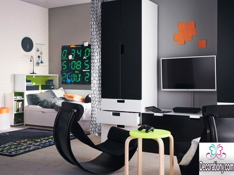 black and white room for boys