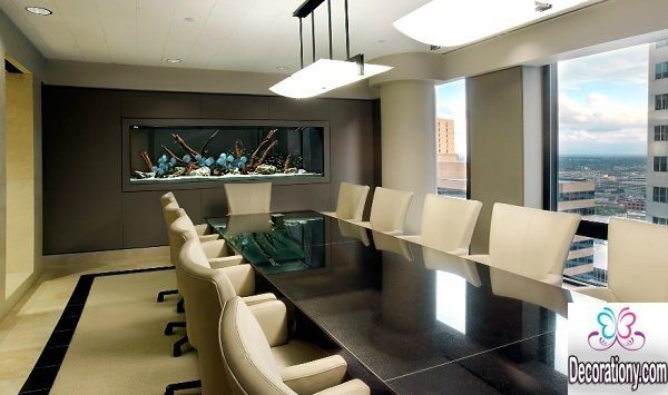 meeting room with fish tanks