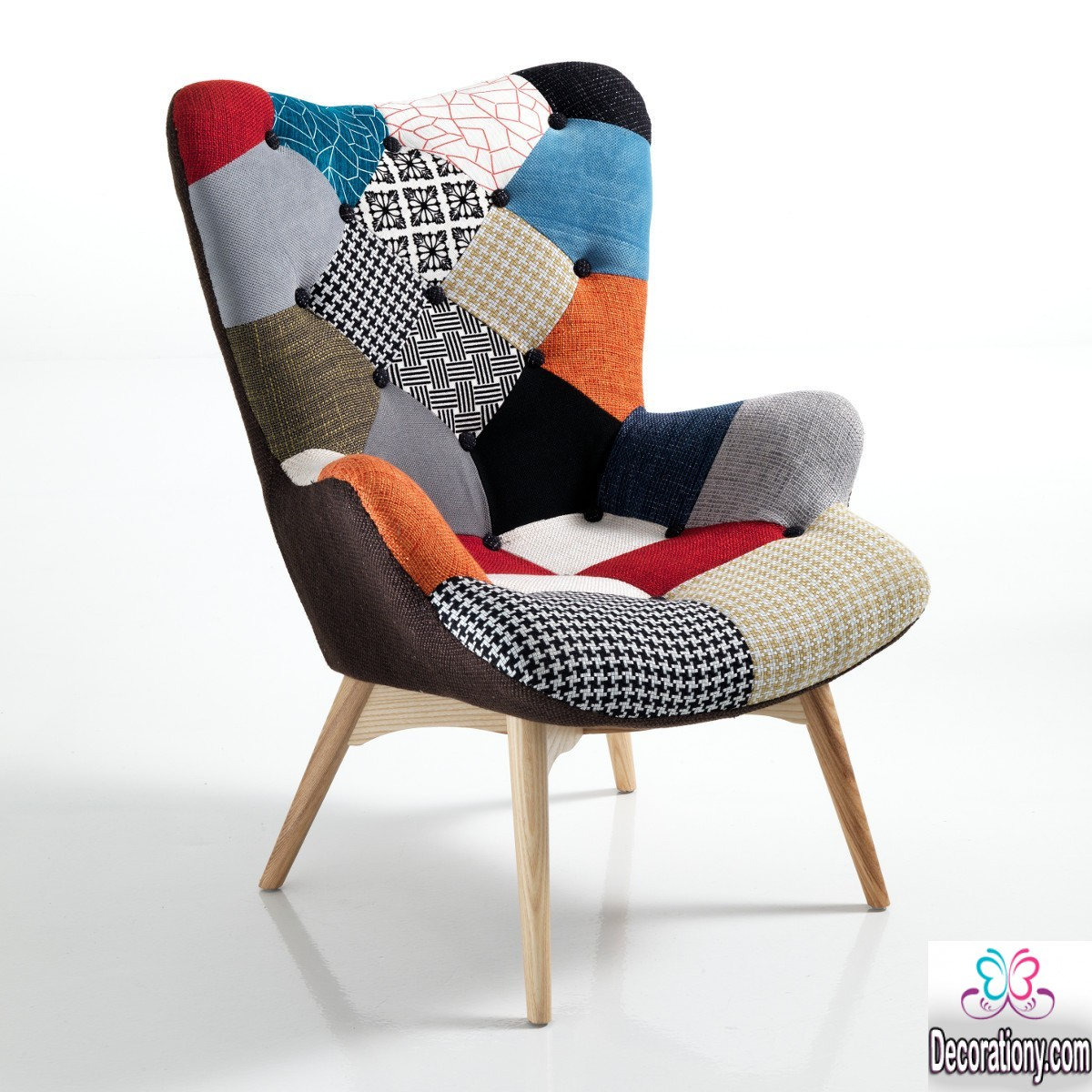 Creative patchwork chair design for the living room for Sitting room chairs designs