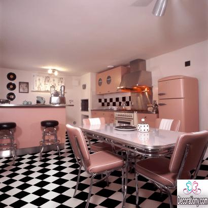pink kitchen interiors