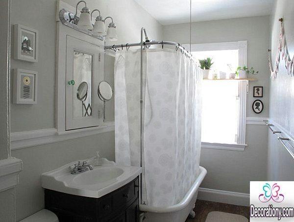 white bathroom curtain