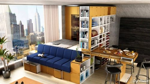 Small Apartment with loft bed