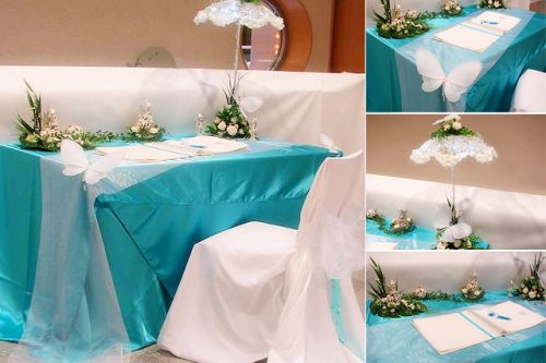 Aqua wedding tablecloths