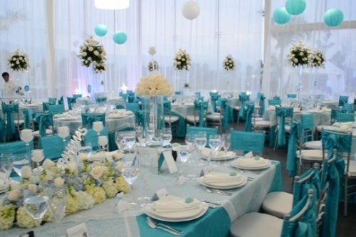 aqua wedding reception table
