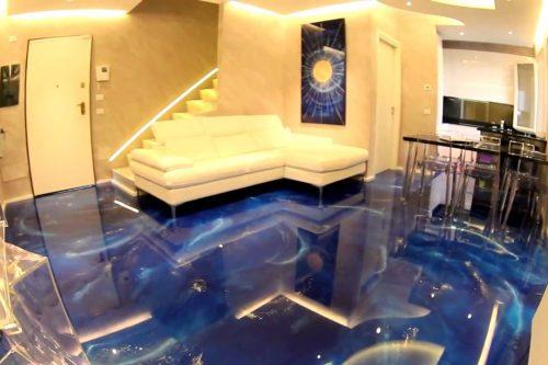 blue 3d flooring