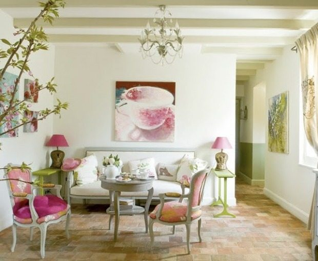 small pastel living room