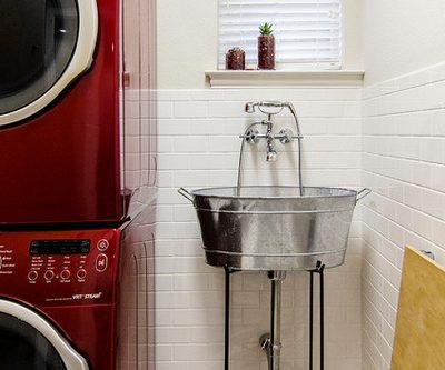 unique red laundry room