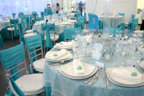 wedding table decoration aqua color