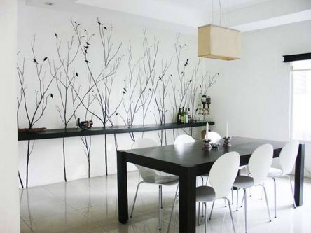 white dining room painting