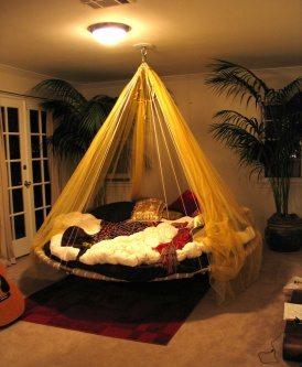 Hanging canopy bed