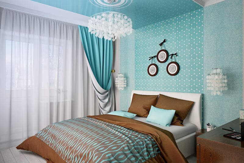 Simple bedroom design in turquoise color - bedroom trends 2017