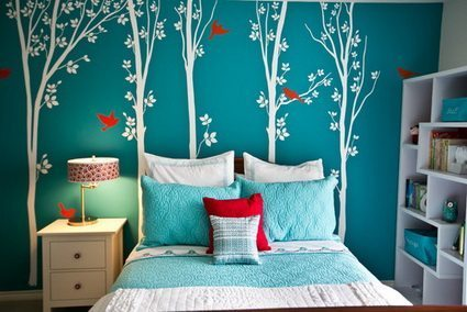 turquoise and white bedroom