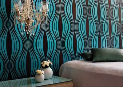 turquoise wallpaper for bedrooms