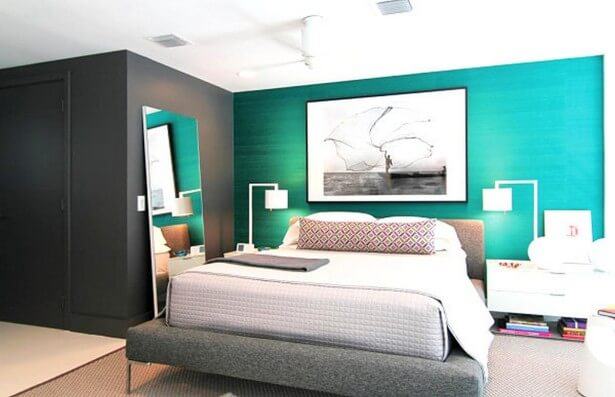 turquoise wall for bedroom