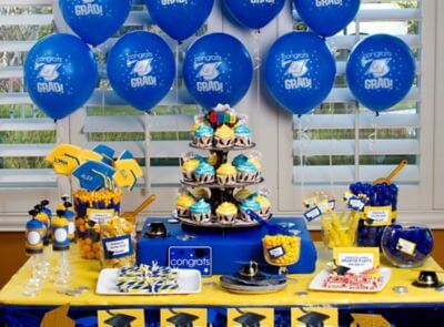 blue and yellow graduation party theme decorations